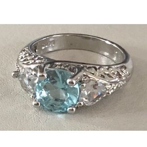 Blue Topaz with clear Hearts 925 Ring Size 7